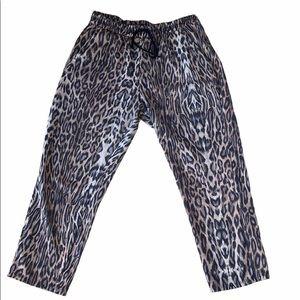 Zara Leopard Print Tie Waist Sweatpants